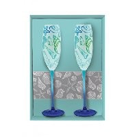 Blue Seashell Etched Glass Champagne Flutes