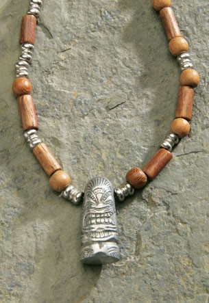 Beaded Wood Necklace with Pewter Tiki