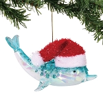 Dolphin Ornament with Santa Hat