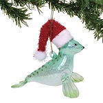 Seal Ornament with Santa Hat