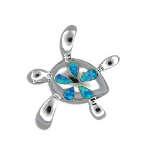 Sterling silver opal honu pendant aloadofball Choice Image