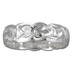 Hawaiian Plumeria and Scroll Ring