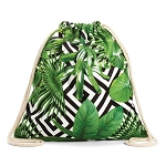 2in 1 Beach Towel Green Tropical