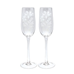 Etched Plumeria Champagne Flutes
