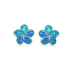 Blue Opal Plumeria Earrings