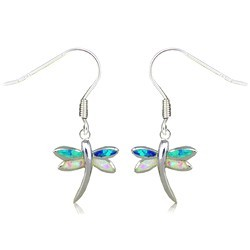 Sterling Silver Rainbow Opal Dragonfly Earrings