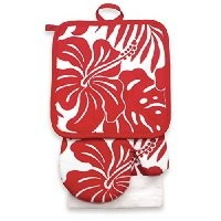 Kitchen Set Hibiscus Floral in Red