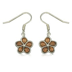 Koa Wood Plumeria dangle Earrings