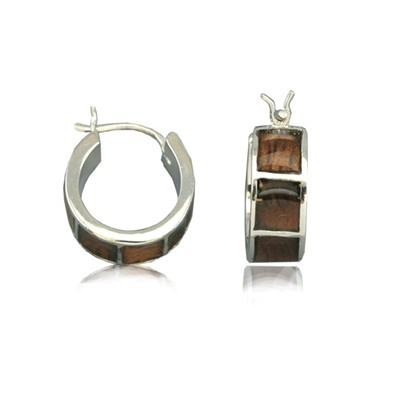 Sterling Silver Koa Wood Earrings