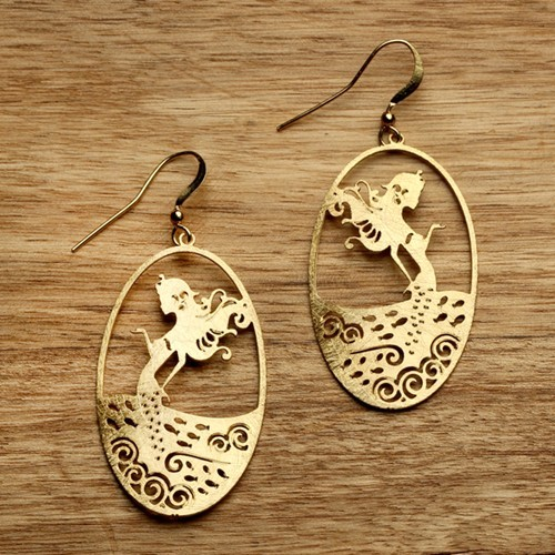 Mermaid Earrings in Gold