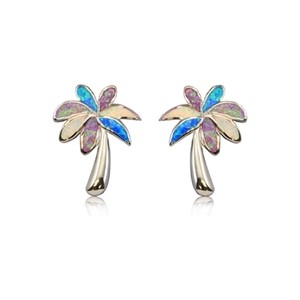 Rainbow Opal Palmtree Earrings