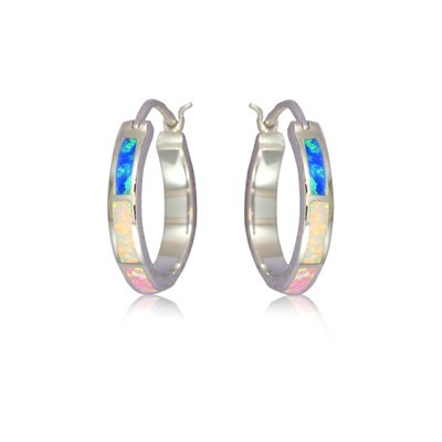 Rainbow Opal Hoop Earrings
