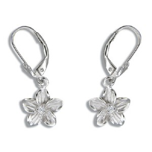 Rhodium Finished Plumeria Earrings