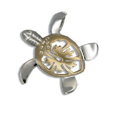 Silver/Gold Two Tone Hibiscus Honu Pendant (M)