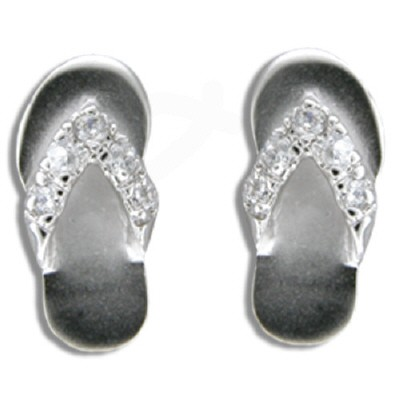 Silver CZ Flip Flop Earrings