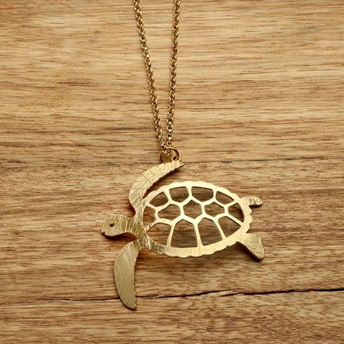 Turtle Necklace in Gold