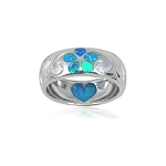 Sterling Silver Plumeria / Heart Opal Ring