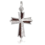 Sterling Silver KOA Wood Cross large
