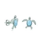 Larimar small Sea Turtle post Earrings