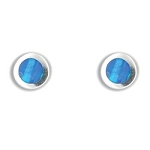 Blue Opal Round Earrings