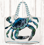 Rope Handle Canvas Bag Blue Crab