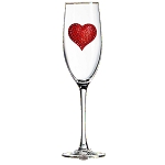 Red Heart Champagne Flute