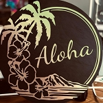 Round Beach Sign Aloha