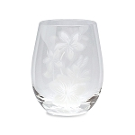 Stemless Glass Etched Plumeria