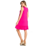 Sleeveless Ruffle Dress in Hot Pink