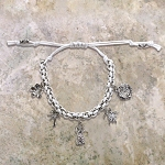 5 Charm Adjustable Icons Bracelet, White