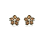 KOA Wood Plumeria post Earrings