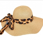 Brown Hat with Lepard Bow