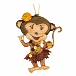 Aloha Wood Art Monkey Ornament