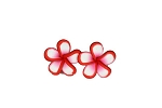 Jennibeans mini red rimmed plumeria earrings