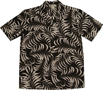 Black and White Palm Front Aloha Shirt