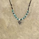 Replica Bull Shark Tooth Turquoise Bead Necklace