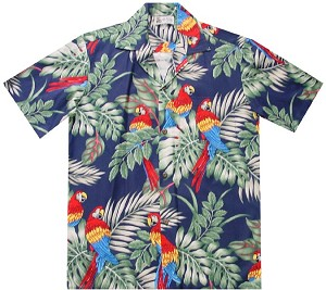 Parrots Aloha Shirt in Blue