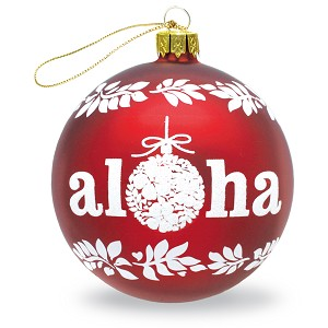 "Glass Ornament Ball ""Aloha"""