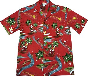 Rudolph the Reindeer Christmas Aloha Shirt in Red