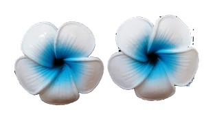 Small Blue Plumeria Earrings