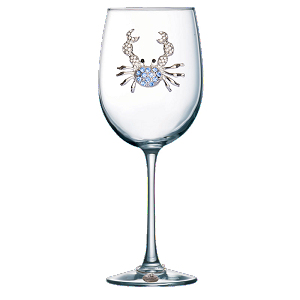 Blue Crab Stemmed Glass