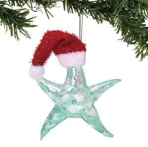 Starfish Ornament with Santa Hat