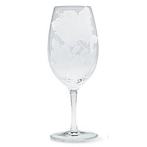 Hibiscus Etched Water Goblet