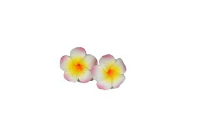 Jennibeans mini yellow/pink plumeria earrings